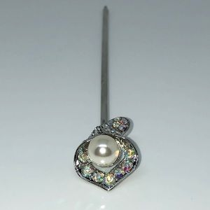 Accessories - Cala Lily Pearl(12mm) & Rhinestone Hair Stick 6""